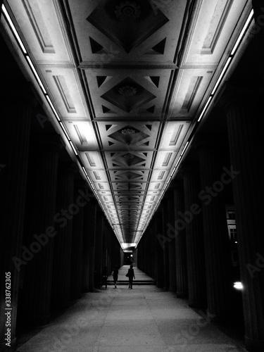 Fotografie, Tablou Interior Of Illuminated Colonnade