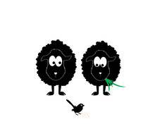 Two Sheep Silhouettes With Bird, Illustration. Cartoon Character. Kids Wall Decals, Childish Poster Design, Wall Art, Artwork