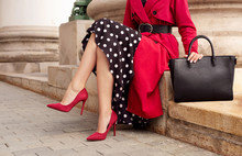 Fashionable Woman In Red Coat,...