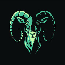 Animal Head - Goat - Vector Lo...