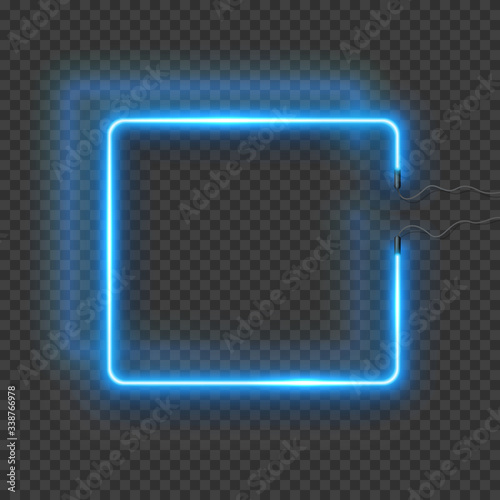 Neon rectangle lamp wall sign isolated on transparent background Canvas-taulu