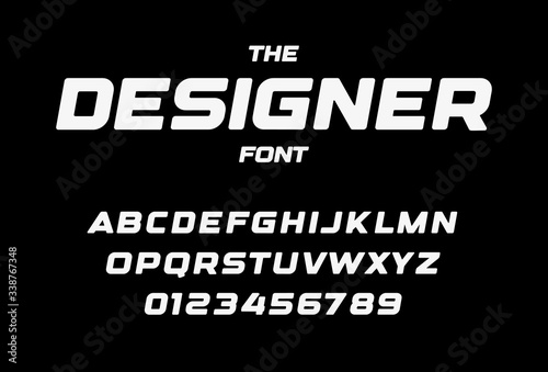 Obraz Designer letters and numbers set. Bold italic style alphabet. Font for events, promotions, logos, banner, monogram and poster. Vector typography design - fototapety do salonu