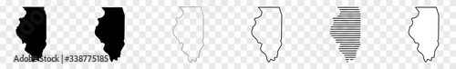 Fotografia, Obraz Illinois Map Black | State Border | United States | US America | Transparent Iso