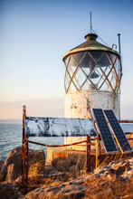 Old Lighthouse With Solar Pane...