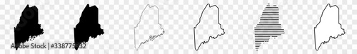 Maine Map Black   State Border   United States   US America   Transparent Isolated   Variations