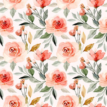 Watercolor Floral Blossom Seam...
