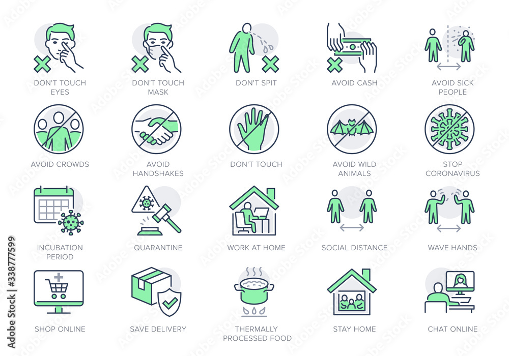 Fototapeta Coronavirus prevention line icons. Vector illustration include icon - social distance, quarantine violation, incubation period, avoid handshakes, stay home pictogram for infographic, green color