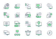Work From Home Line Icons. Vector Illustration Included Icon As Freelance Worker With Laptop, Workspace, Pc Monitor, Remote Business Outline Pictogram For Online Job, Green Color