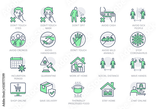 Obraz Coronavirus prevention line icons. Vector illustration include icon - social distance, quarantine violation, incubation period, avoid handshakes, stay home pictogram for infographic, green color - fototapety do salonu