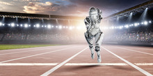 Cyborg Silver Running Woman. M...