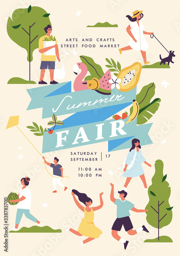 Vector summer fair poster, flyer or banner or banner template with people enjoying their time outdoors in park. Summer holiday season recreation and public event. Wall mural