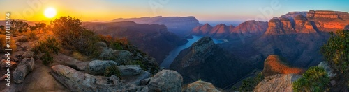 three rondavels and blyde river canyon at sunset, south africa Fototapeta