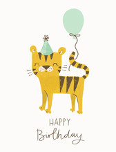 Birthday Tiger With A Party Hat And A Balloon. Cute Cartoon Tiger Vector Illustration For Jungle Party, Birthday Cards, Invitations, Nursery Poster, Art Print And Baby Clothing.
