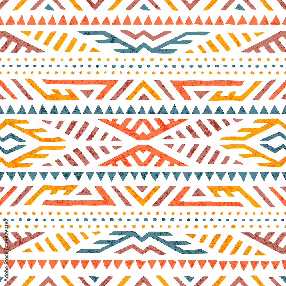 Fototapeta Cute summer tribal pattern. Colorful print in boho style. Ethnic and tribal motifs. Hand-drawn geometric ornament on a white background. Grunge texture. Vector illustration.