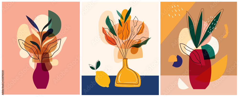 Abstract colorful vector illustrations. Abstract compositions, designs for posters