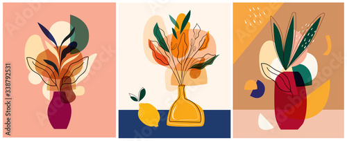 Abstract colorful vector illustrations. Abstract compositions, designs for posters  - 338792531