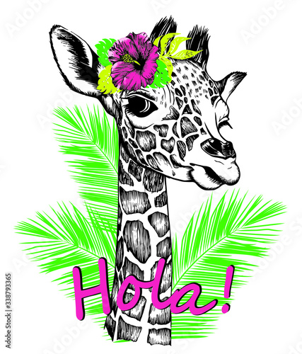 Giraffe baby with hibiscus flower on a head, palm leaf & slogan Hola Wallpaper Mural