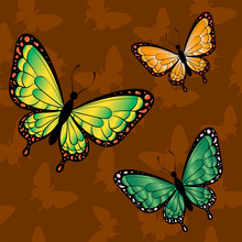 Bright Butterflies On A Brown Background. Pattern For The Design Of Cards, Banners, Flyers. Print For Clothes.