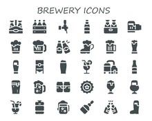 Modern Simple Set Of Brewery Vector Filled Icons