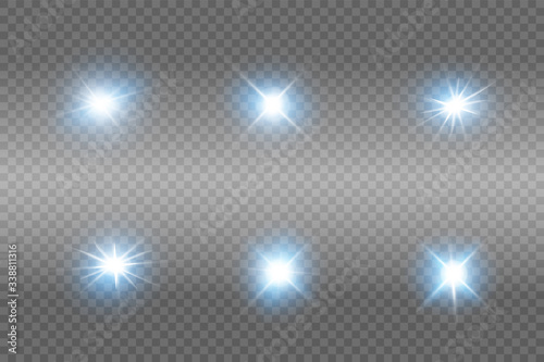 Obraz Glow blue light effect set, lens flare, explosion, glitter, line, sun flash, spark and stars. Abstract special effect element design. - fototapety do salonu