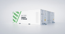 Concept Of Energy Storage Unit - Multiple Conected Containers With Batteries. 3d Rendnering.