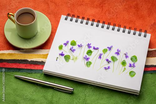 viola flowers on a sketchbook