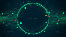 Digital Big Data Visualization Concept, Futuristic Infographic Business Analytics Presentation, Information Network, Vector Illustration