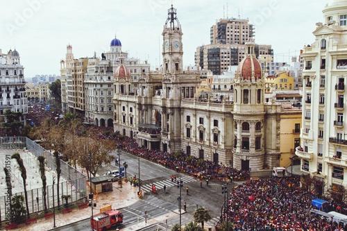 Crowd On Street By Historic Buildings In City - fototapety na wymiar