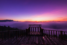 The Beautiful Early Morning Sky With Twilight And Waves Of Fog At Wooden Terrace Of Baan Ja Bo Village Viewpoint Pang Mapha, Mae Hong Son, Northern Thailand.