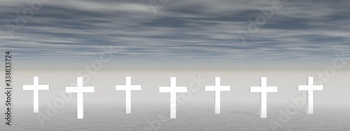 cross on clouds background - 3D rendering Canvas Print