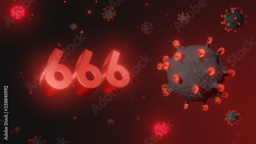 фотография Number 666 in red 3d text on dark corona virus background, 3d render, illustrati