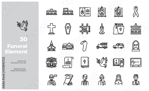 Vector Line Icons Set of Funeral Icon Canvas Print