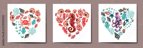 Fotografia, Obraz Set of watercolor cards with heart  sea treasures, print and pattern underwater