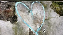 Blue Heart Shape Painted On Wall