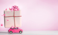 Pink Toy Car With Gift Box On ...