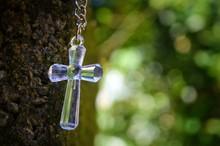 Silver Cross On A Blue Backgro...