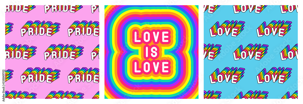 """Fototapeta Set of LGBT pride month poster and 2 seamless patterns with rainbow-colored patches """"Love"""" and"""