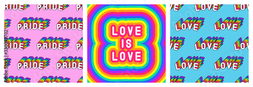 "Set of LGBT pride month poster and 2 seamless patterns with rainbow-colored patches ""Love"" and"