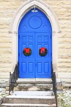 Blue Church Doors And Wreaths