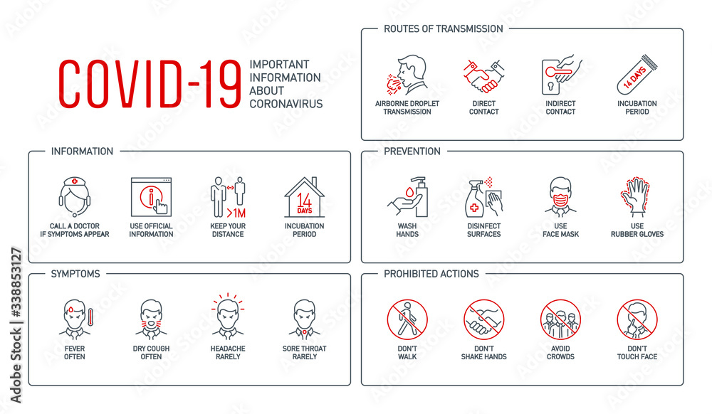 Fototapeta Routes of transmission, Signs and symptoms, Prevention, prohibited actions Coronavirus line icons isolated on white. Perfect outline symbols Covid 19 banner. design elements with editable Stroke line
