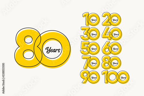 80 Years Anniversary Set Celebrations Elegant Vector Template Design Illustratio Fototapet