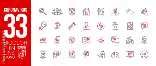 Fotografía Prevention and symptoms Coronavirus Covid 19 line icons set isolated on white