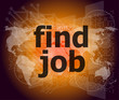 find job on digital touch screen, social concept