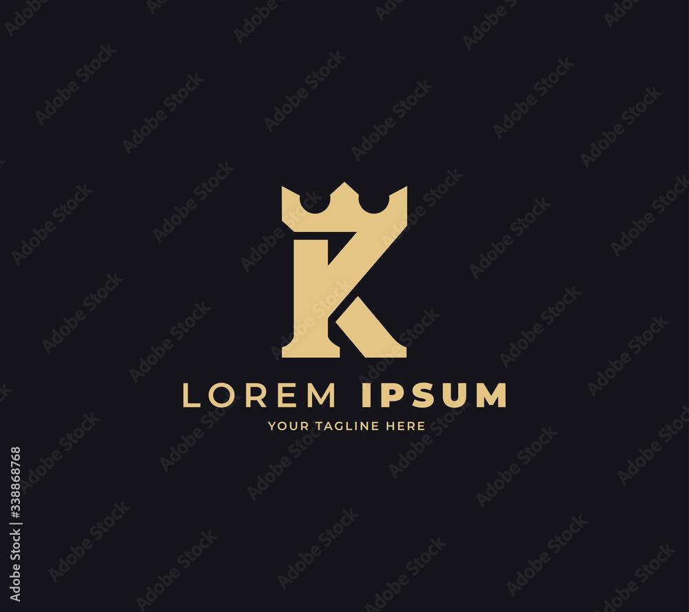Fototapeta initial K king logo design vector