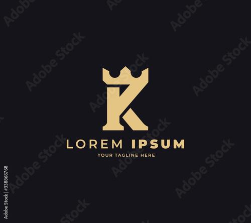 Obraz na plátně initial K king logo design vector