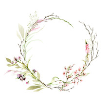 Hand Drawing Watercolor Spring Wreath Of Wild Flowers, Branches And Leaves. Illustration Isolated On White