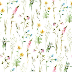 Panel Szklany Łąka Hand drawing watercolor spring Pattern of wild leaves, flowers and branches. illustration isolated on white. Perfect for summer wedding invitation and card making