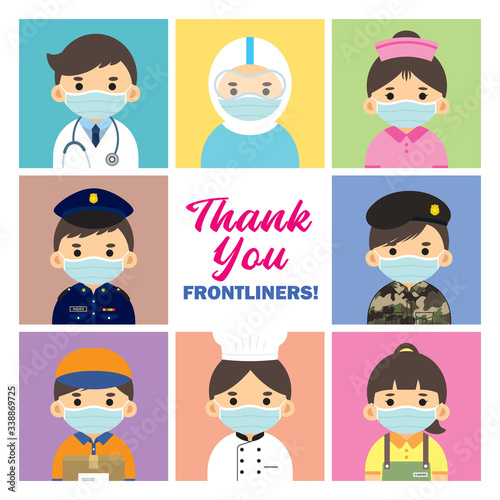 Obraz Thank you Frontliners who work for nation during coronavirus (covid-19) outbreak season. Cartoon doctor, medical staff, nurse, police, military personnel, couriers, food server & essential retailer. - fototapety do salonu
