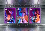 3 Billboards on Futuristic Underground Wall Mockup - 338873340