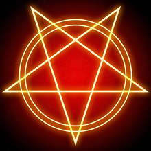Glowing Bright Pentagram Star ...